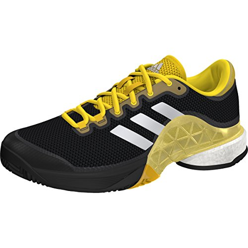 Adidas Men's Barricade 2017 Boost Men's Tennis Shoe Core Black/White/Equestrian Yellow, 7 D(M) US