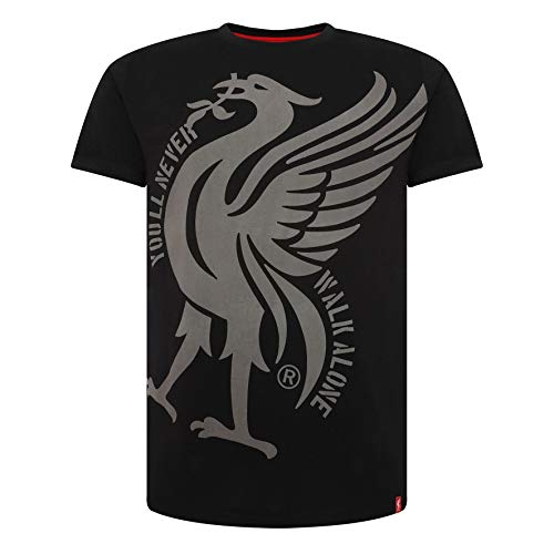 Liverpool FC Black Mens Soccer Liverbird YNWA Shirt AW 18/19 LFC Official