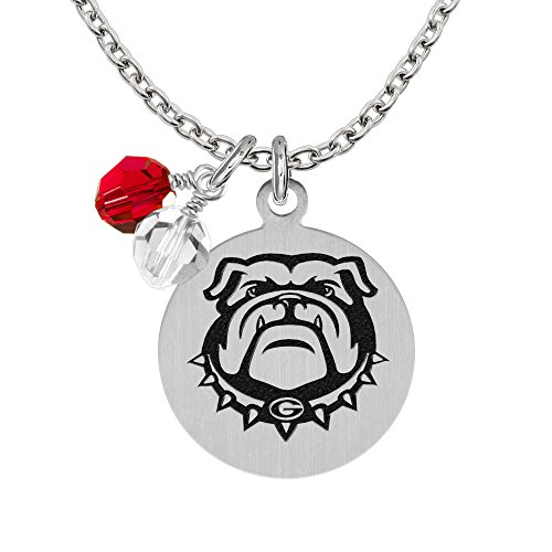 Georgia Bulldogs Necklace With Round Charm and Crystal Accents Bulldogs Round Crystal