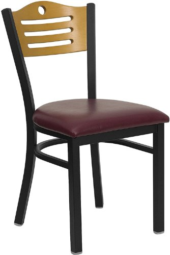 Flash Furniture HERCULES Series Black Slat Back Metal Restaurant Chair – Natural Wood Back, Burgundy Vinyl Seat