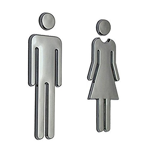 Symbol Sign Men Women Toilet Acrylic Adhesive-THREE TO ONE Wall Decal Sign for Unisex Bathroom Restroom Door Symbol Silver 1 Set