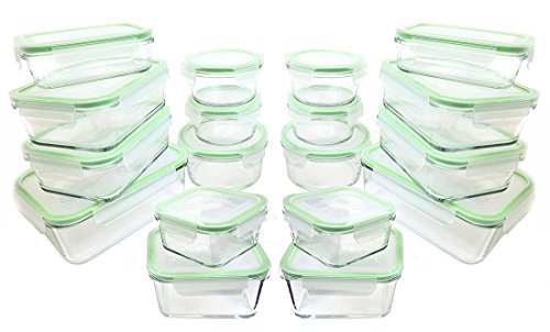 Kinetic Glassworks Glass Lunch Containers [36 piece] Glass Food Storage Bento Box | BPA Free | FDA Approved | Portion Control Containers with Lids, (18 Containers & 18 Lids)