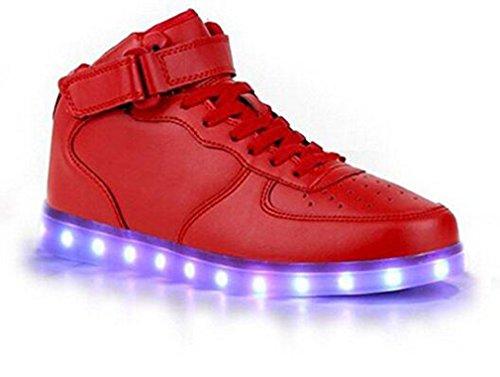 Zapatos de mujeres hombres USB LED carga High Flashing Rojo las parte los superior Sneakers pandabeauty x1qZIwPU5