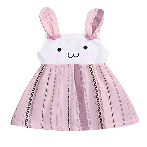 Toddler Baby Girl Easter Clothes Floral Ruffle Fly Sleeve Bunny Print Princess Dress Girls Summer Outfit (Pink, 12-18 Months) ()