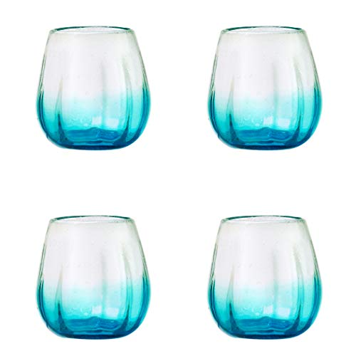 Amici Home, A7MCR061S4R Rosa Collection Stemless Wine Glass, Aqua, Recycled, Mexican Artisan Handmade Glassware, Set of 4, 16 Ounces ()