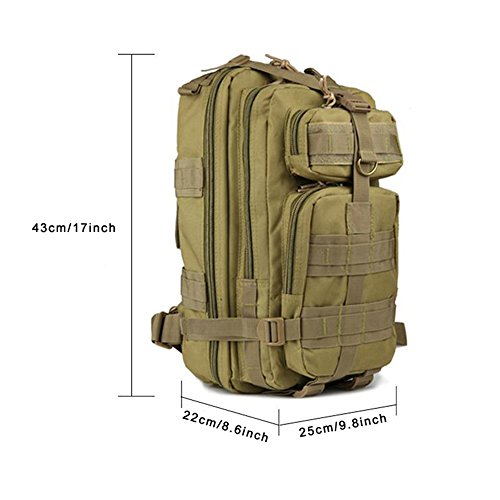 Jian Ya NA tactique militaire Sac à dos randonnée Sac extérieur Trekking Camping tactique Molle Lot Homme Tactical Combat Sac de voyage 25L