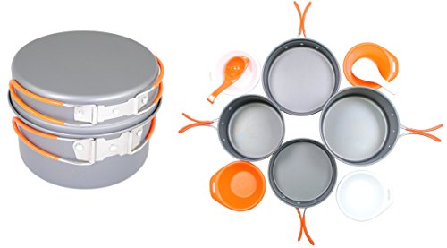 Aluminum Cookset - Gas One Anodizing Aluminum Cook Set (3-5 people) - Outdoor cooking/Hiking/Backpacking cookware