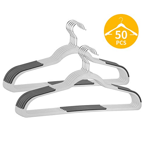 "FSUTEG Hangers ,Plastic Hangers 50 Pack Dry Wet Clothes Hangers with Non-Slip Pads with Heavy Duty 360 Swivel Hanger Hook 0.2"" Thickness - Space Saving Gray"