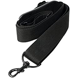 """Made In USA Black Poly Webbing Replacement Travel Luggage Bag Strap 1.5""""W x 60""""L Black Metal Hardware"""