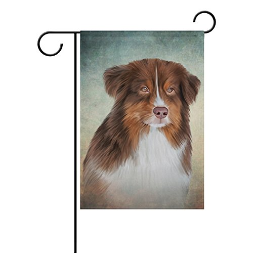 Top Carpenter Dog Australian Shepherd Aussie Double-Sided Printed Garden House Sports Flag - 12x18(in) - 100% Premium Polyester Decorative Flags for Courtyard Garden - Australian Shepherd Garden