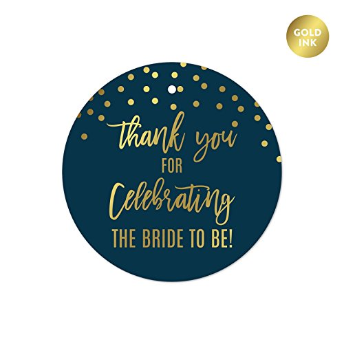 Andaz Press Navy Blue and Metallic Gold Confetti Polka Dots Bachelorette Party Bridal Shower Collection, Round Circle Gift Tags, Thank You for Celebrating The Bride to Be, ()