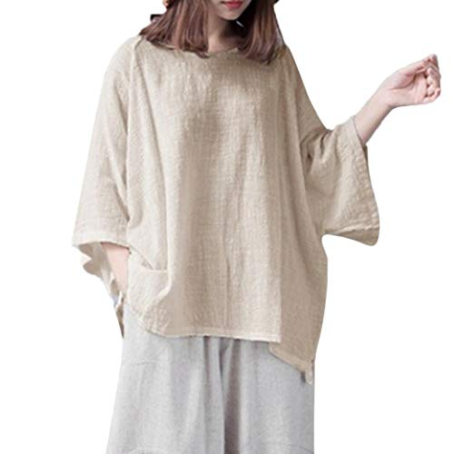 (Clearance Women Tops LuluZanm Casual Solid Color Classical Tops Shirt Vintage Loose 3/4 Sleeve Blouse (Beige, 5XL))