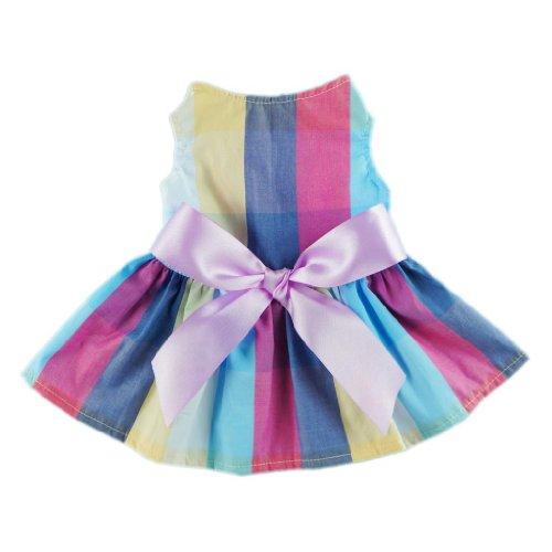 Fitwarm Adorable Rainbow Ribbon Dog Dress Dog Shirt Dog Clothes Pet Dress, Large