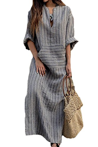 Simgahuva Womens Linen Maxi Dress Cotton Stripes Shift Dresses Plus Size with Pocket Gray ()