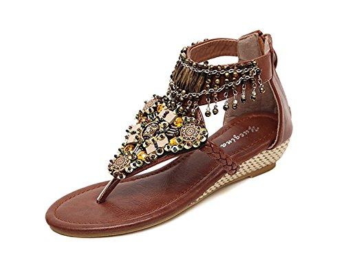 Sandalias Para Mujer Zapatos Con Cuña Abalorios Decorated De Bohemia de clip del dedo del pie Marrón