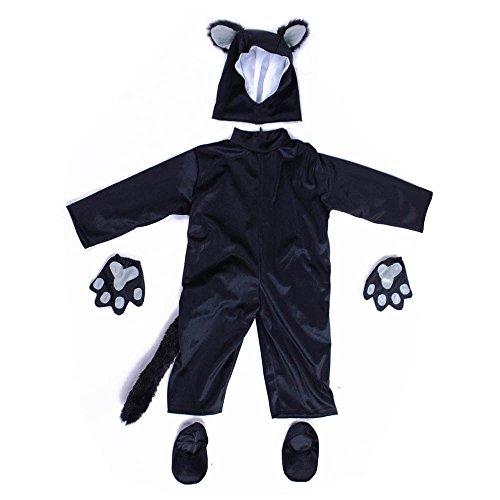 Child Black Cat Costume Animal Cosplay Halloween Fancy Dress (Small) (Cat Costume For Kids)