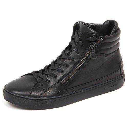 Leather Scarpe Nero E4632 Black London Crime Sneaker Man Shoe Uomo WaYTzxXn