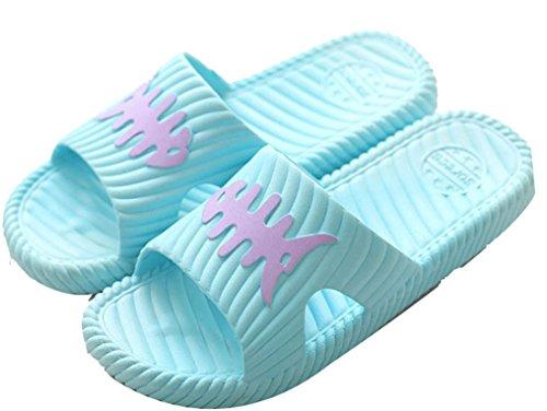 Blubi Mujeres Fish Bone Open Toe Comfort Shower Y Junto A La Piscina Sandalia Beach Sandal Blue