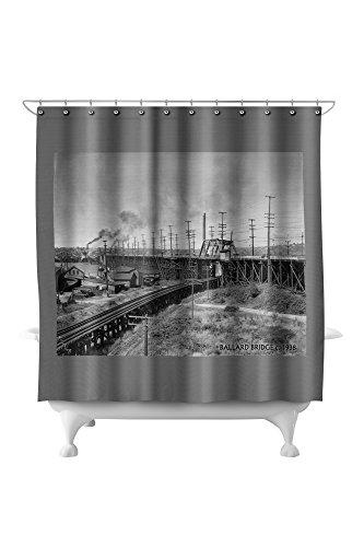 Ballard Bridge from South - Seattle, WA Photograph (71x74 Polyester Shower Curtain) ()