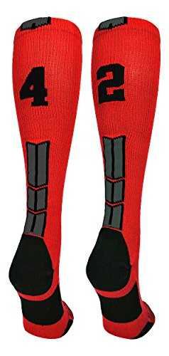 - MadSportsStuff Red/Black Player Id Over The Calf Number Socks (#42, Large)