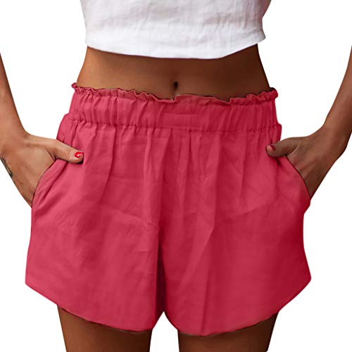 Alternative Ladies Destroyed T-shirt - Sunyastor Women Shorts Pants High Waist Ruffle Casual Loose Cotton Pants Girls Solid Color Shorts Wear Pants Pius Size Red