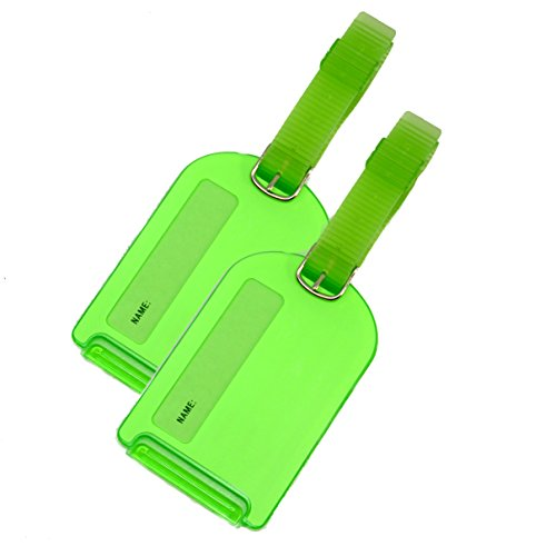 2 Pack Neon Luggage Tags Green Business Card Holder For Baggage Travel Identifier Accessories Suitcase (Green Neon Luggage Tag)