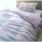 Imperial Home Collection 100% Cotton Yarn Dyed Duvet Cover (Comforter Cover) Navy Check with Pillow Cases
