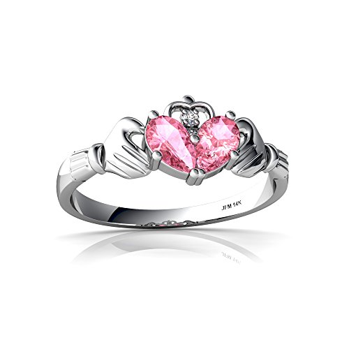 14kt White Gold Lab Pink Sapphire and Diamond 5x3mm Pear Claddagh Ring - Size (White Gold Sapphire Claddagh Ring)