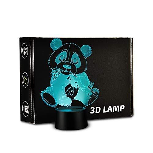 Panda Gift (Rongyu 3D Lamp Panda lamp LED night light Panda Bamboo lamp leaf Touch 7 Color Change Table Lamp Xmas Toy Gift)