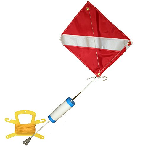 JCS Foam Dive Float, 14inch x 18inch Nylon Dive Flag with Wire, and 100 Feet of Poly (Yellow) Line by JCS