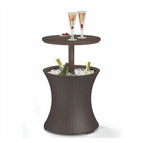 Wine Cooler Table Stand For Patio Lawn Or Pool| Cocktail Bar| Keep Your Drinks Cool| Best Outdoor Party Addition| 7 Gal Bar |Resin Pattern| Brown + eBook Home Décor