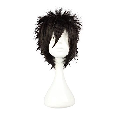 COSPLAZA Cosplay Wig Short Rock Spiky Straight Dark Black Heat Resistant Synthetic Hair 30cm Anime Hair