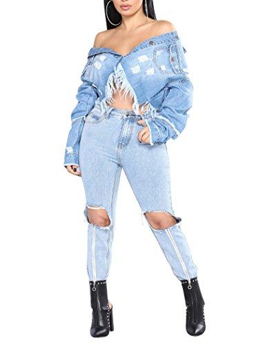 Moda Ragazze Casuale Perline Sottile Azzurro Corti Cappotto Con Lunga Giacca Manica Nappa Donna Capispalla Jeans Giacche Denim Tops wBxIq4n