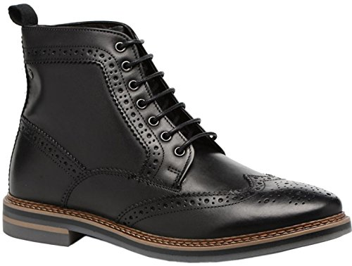 Base London Hurst Black Mens Mid Ankle Leather Boots