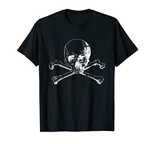 (Distressed white skull and cross bones graphic Tee Shirt)