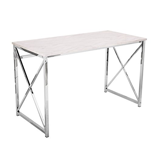 Marble Tabletop (Adeco 48x24 inches Computer Desk with Marble Style Table top with Chrome Metal Cross legs, Heights 30 Inches)