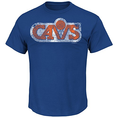 NBA Cleveland Cavaliers 1983-94 Men's Cavs Post Up Short Sleeve Basic Crew Neck T-Shirt, Royal, X-Large