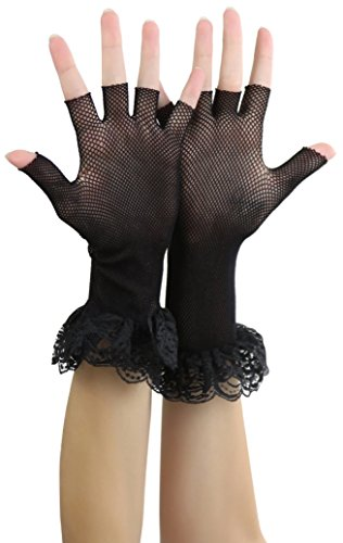 ToBeInStyle Women's Lace Ruffle Fishnet Fingerless Gloves - Black -