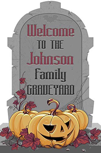 Scary Gravestone Welcome Halloween Graveyard Sign Halloween Party Welcome To Our Graveyard Custom Halloween Names Poster Handmade Party Supply Print, Size 36x24, 18x24]()