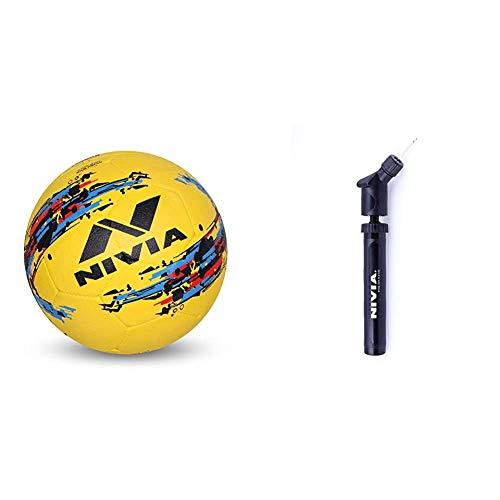 Nivia Storm Football, Size 5  Yellow    Nivia Ball Pump Double Action  BP   213  Combo