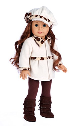 DreamWorld Collections - Marshmallow - 4 Piece Outfit - Coat, Hat, Leggings and Boots. Clothes Fits 18 Inch American Girl Doll (Doll Not Included)