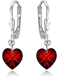 Sterling Silver Dainty Heart Dangle Leverback Earrings Made with Swarovski Crystals