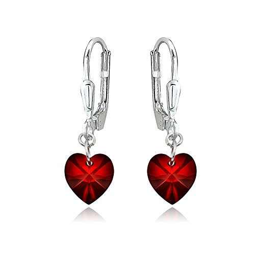 Sterling Silver Red Dainty Heart Dangle Leverback Earrings Made with Swarovski Crystals