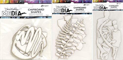 Dina Wakley Media 2019 Chipboard Shapes - Basics, Botanicals and Persona - Three Item Bundle