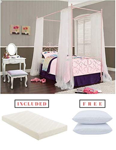 (Canopy Wrought Iron Princess Bed in Pink Finish with Twin Mattress Included in Bundle Set with Free!)