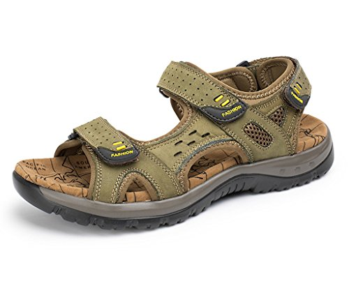 SOGXBUO XW Costume Mens Leather Sandals Athletic Outdoor Shoes Summer Beach Mules Velcro Sports Sandals rfbnYX