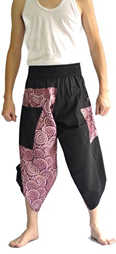 Siam Trendy Mens Harem Pants Design Japanese Style Pants One Size Black and Circle Design (Purple) by Siam Trendy (Image #5)