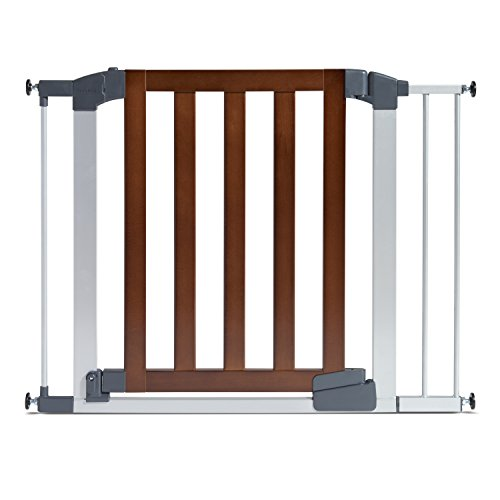 Munchkin Auto Close Modern Baby Gate Dark Wood Silver