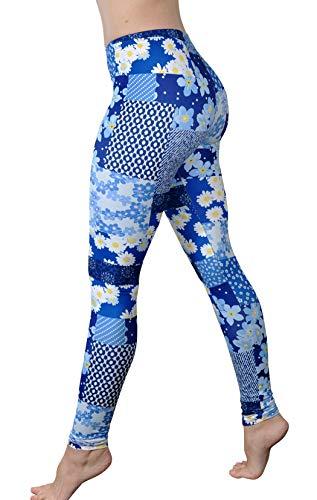 Comfy Yoga Pants - Soft Milk Silk Workout Leggings for Women - Fun Lightweight Printed Yoga Leggings (Patchy Denim, US 12-22) (Silk Milk Women)