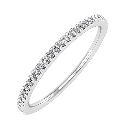 10K White Gold Prongs Set Diamond Eternity Band Ring (0.16 Carat) - IGI Certified